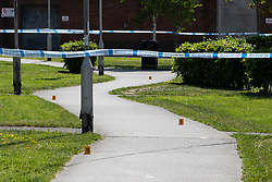 © Licensed to London News Pictures. 28/05/2018. Stockport, UK. The scene outside The Salisbury Club on Truro Avenue in the Brinnington area of Stockport, Greater Manchester, where a car collided with pedestrians late last night, killing one man and injuring others.  A murder investigation has been launched. Police later recovered a black Audi A4 which fled the scene. Photo credit: Joel Goodman/LNP