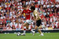 Photo: Richard Lane/Richard Lane Photography. Arsenal v Juventus. Emirates Cup. 02/08/2008. Arsenal's Aaron Ramsey breaks from Juventus' Cardoso Mendes Tiago.