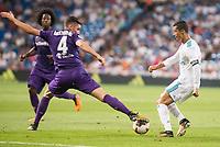 Real Madrid's Cristiano Ronaldo and Fiorentina's Nikola  Milenkovic during XXXVIII Santiago Bernabeu Trophy at Santiago Bernabeu Stadium in Madrid, Spain August 23, 2017. (ALTERPHOTOS/Borja B.Hojas)