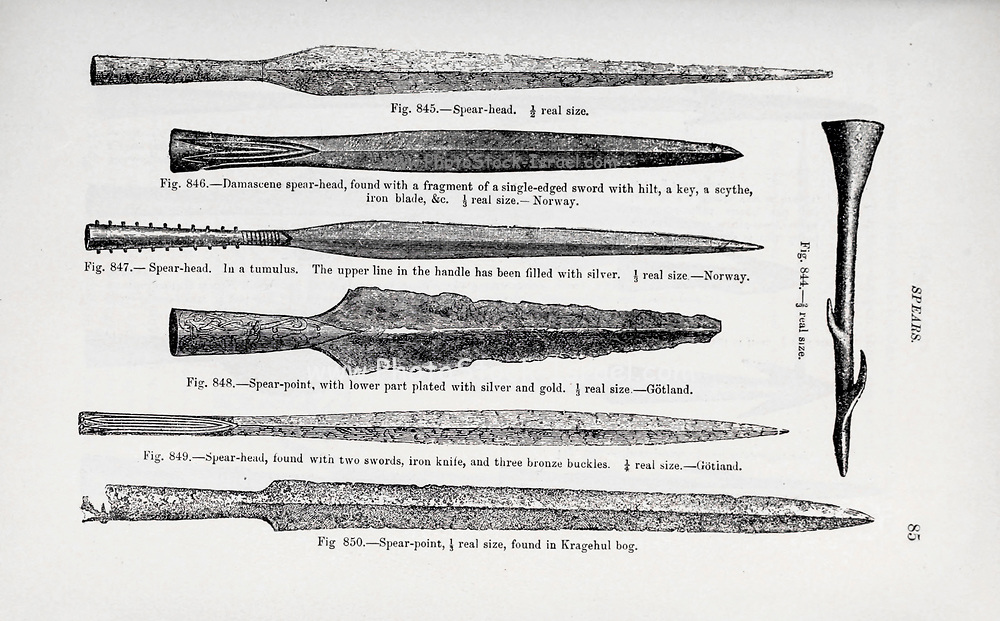 Viking Age Iron spearheads from the book ' The viking age: the early history, manners, and customs of the ancestors of the English-speaking nations ' Volume 2 by Du Chaillu, Paul B. (Paul Belloni), Published in New York by  C. Scribner's sons in 1890