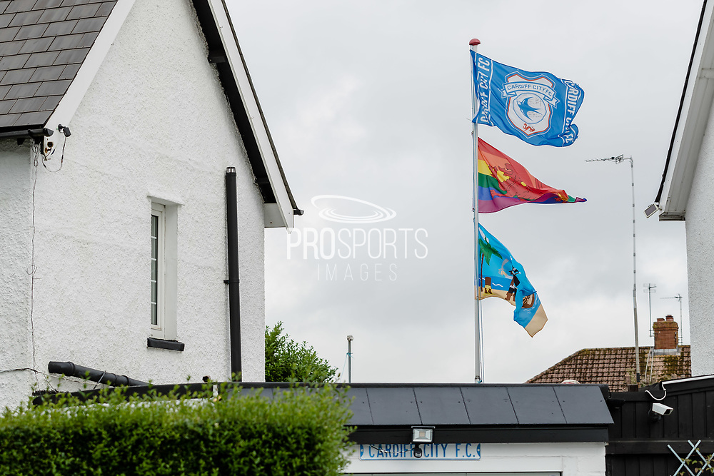 Cardiff City FC fan flying his flag outside his home prior to the Cardiff City vs Leeds United EFL Championship match at the Cardiff City Stadium, Cardiff, Wales on 21 June 2020.