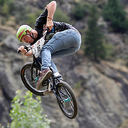 Phillip Leyton in action during the 'Red Bull Roast It' BMX competition with riders from around the globe competing at the Gorge Road Jump Park, Queenstown, South Island, New Zealand. 18th February 2012. Photo Tim Clayton