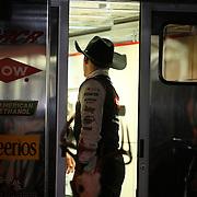 Austin Dillon retreats to his trailer after practice for the 56th Annual NASCAR Daytona 500 race at Daytona International Speedway on Wednesday, February 19, 2014 in Daytona Beach, Florida.  (AP Photo/Alex Menendez)
