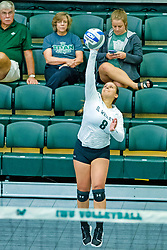 BLOOMINGTON, IL - August 24:  Amber Juarez during  the IWU Titans Women<br /> s Volleyball Green-White scrimmage on August 24 2019 at Shirk Center in Bloomington, IL. (Photo by Alan Look)