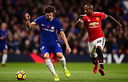 Cesc Fabregas of Chelsea and Ashley Young of Manchester United battle for the ball .Premier league match, Chelsea v Manchester United at Stamford Bridge in London on Sunday 5th November 2017.<br /> pic by Andrew Orchard sports photography.