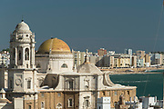 View of Cadiz including Cadiz Cathedral and sea, Andalusia, Spain