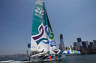 Pictures of the Musandam - Oman Sail MOD70. Shown here in action on the Hudson River NYC prior to The  Krys Ocean Race..Credit: Lloyd Images