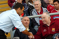 Photo: Kevin Poolman.<br />Northampton Town v Nottingham Forest. Coca Cola League 1. 12/08/2006. <br />Forest manager Colin Calderwood gets a good reception from the fans back at Northampton.