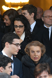 File photo - File poto of Liliane Bettencourt and her daughter Francoise Bettencourt Meyers seen at the funeral of Andre Bettencourt in Neuilly, France on November 22, 2007. Liliane Bettencourt, who is France's richest woman, is in the middle of a justice law case with her daughter Francoise Meyers regarding one billion euros donated to photographer Francois Marie Banier. Liliane Bettencourt has died aged 94 it was announced on September 21, 2017. Bettencourt was the richest person in France and the third-richest woman in the world with a net worth of $40 billion. She was the sole heir to L'Oreal, the largest cosmetics company in the world, which was started by her father, and a large shareholder in Nestle. Nearly a decade ago a trial forced Liliane's personal business into the public light, laid bare her obsession with a flashy homosexual photographer whom she turned into a billionaire, destroyed her relationship with her daughter, turned a long time family butler against her, and, finally, turned the dowager heiress into even more of a recluse than she had been before. Photo by Ammar Abd Rabbo/ABACAPRESS.CO