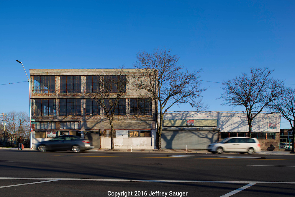 Peter Platte Motor Sales building on Jefferson Avenue in the Jefferson-Chalmers Historic Business District in Detroit, Michigan, Wednesday, April 20, 2016. Designed by architects James S. Rogers, Harrie W. Bonnah and Walter C. Chaffee, it was built in 1919. <br /> <br /> On September 7, 2016, The National Trust for Historic Preservation gave the Jefferson-Chalmers neighborhood in Detroit's lower east side the distinction of a National Treasure. This is the first in the state of Michigan and the first project under the National Trust's ReUrbanism initiative. (Photo by Jeffrey Sauger )