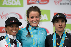 Lizzie Deignan (GBR) of Boels-Dolmans Cycling Team stands on the podium with second placed rider Coryn Rivera (USA) of Team Sunweb and third placed rider Giorgia Bronzini (ITA) of Wiggle Hi5 Cycling Team after the Tour de Yorkshire - a 122.5 km road race, between Tadcaster and Harrogate on April 29, 2017, in Yorkshire, United Kingdom.