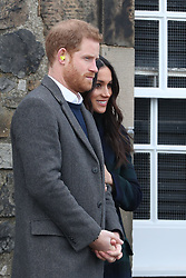Prince Harry and Meghan Markle watching the firing of the One o'clock gun at Edinburgh Castle, during their visit to Scotland.