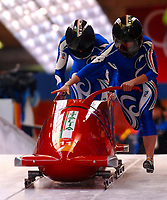 Photo: Catrine Gapper.<br />Winter Olympics, Turin 2006. Womens Bobsleigh. 21/02/2006. <br />Second Italian team finish in tenth place.
