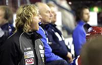 Ishockey<br /> GET-Ligaen<br /> Sluttspill Kvartfinale Play off<br /> 03.03.09<br /> Jordal Amfi<br /> Vålerenga VIF - Frisk Asker Tigers<br /> Trener Espen Knutsen - Shampo - roper<br /> Foto - Kasper Wikestad