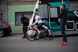 Alice Barnes (GBR) of CANYON//SRAM Racing shares a light moment with team staff before the Liege-Bastogne-Liege Femmes - a 135.5 km road race, between  Bastogne and Ans on April 23, 2017, in Liege, Belgium.