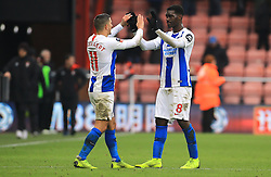 Brighton & Hove Albion's Anthony Knockaert (left) and Yves Bissouma celebrate after the final whistle during the Emirates FA Cup, third round match at the Vitality Stadium, Bournemouth.