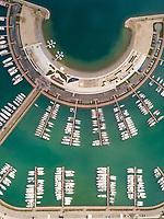 Aerial view above of Sukošan Marina Plaza, Croatia.