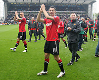 Football - Premier League - Blackburn Rovers vs. Manchester Utd<br /> Ryan Giggs of Manchester United applauds the away fans at Ewood Park
