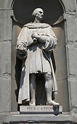 Statue located outside of the Uffizi museum in Florence, Italy. One of the oldest art museums in the Western World. Semi enclosed figurative statues such as this appear all over Florence. Statue of Piero Capponi, an Italian statesman and warrior from Florence.