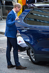 The Duke of Cambridge pictured outside the Lindo Wing at St Mary's Hospital in Paddington, London, after the birth of their second son. Photo credit should read: Matt Crossick/EMPICS Entertainment