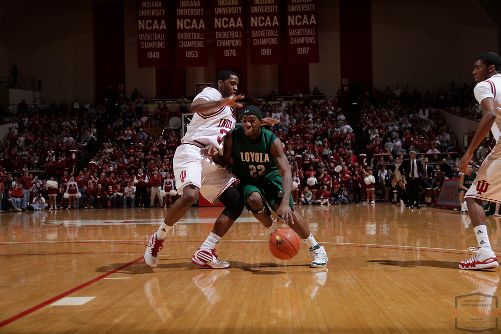 22 December 2009: Loyola (MD) guard Jamal Barney (22) as the Indiana Hoosiers played the Loyola Greyhounds in a college basketball game in Bloomington, Ind.