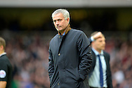 Jose Mourinho, the Chelsea manager looks dejected after West Ham score. Barclays Premier League, West Ham Utd v Chelsea at The Boleyn Ground, Upton Park in London on Saturday 24th October 2015.<br /> pic by John Patrick Fletcher, Andrew Orchard sports photography.
