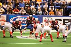14 March 2009: Mitch Tanney under center Luke Wickman with Keith Brooks liked up in the backfield. Joe Nicklasch is on the line. The Sioux Falls Storm were hosted by the Bloomington Extreme in the US Cellular Coliseum in downtown Bloomington Illinois.