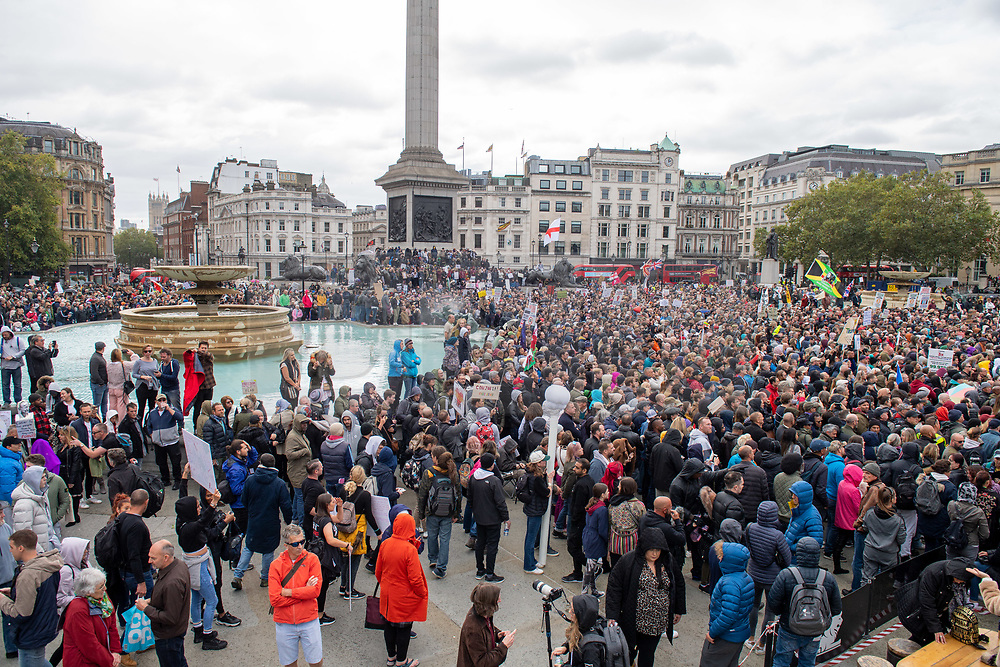 © Licensed to London News Pictures. 26/09/2020. London, UK. Coronavirus sceptics have gathered in central London for a large demonstration. Photo credit: Peter Manning/LNP