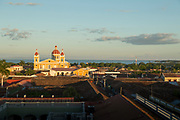 Overview of the cityscape of Granada at sunset seen from La Merced Church tower, Nicaragua