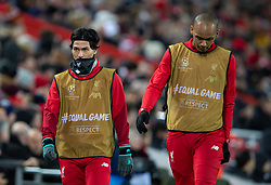 LIVERPOOL, ENGLAND - Wednesday, March 11, 2020: Liverpool's substitutes Takumi Minamino and Fabio Henrique Tavares 'Fabinho' during the UEFA Champions League Round of 16 2nd Leg match between Liverpool FC and Club Atlético de Madrid at Anfield. (Pic by David Rawcliffe/Propaganda)
