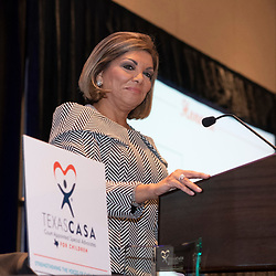 Texas Supreme Court Justice Eva Guzman receives an award from the Texas CASA (Court Appointed Special Advocates) for her support of the organization on April 6, 2017. Guzman, the first Hispanic woman to serve on the Texas Supreme Court, resigned her position and is rumored to be considering a challenge to Attorney General Ken Paxton.