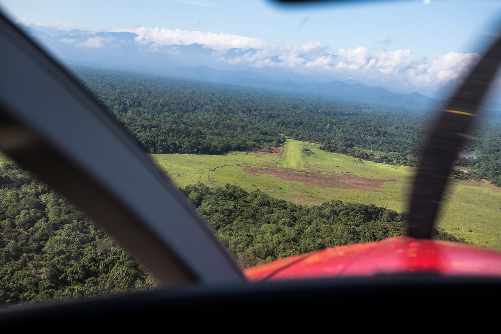 View from the cockpit of a Quest Kodiak 100 on approach to the airstrip in Likan, East Sepik Province, Papua New Guinea<br /> <br /> (June 20, 2019)