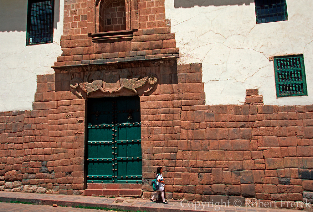 PERU, HIGHLANDS, CUZCO colonial palace on Incan stone foundation