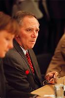 18 JAN 2000, BERLIN/GERMANY:<br /> Wolfgang Schäuble, CDU Parteivorsitzender, während der Pressekonferenz zu den Ergebnissen der Sitzung des CDU Bundesvorstandes in Verbindung mit der Parteispendenaffäre, Konrad-Adenauer-Stiftung<br /> Wolfgang Schaeuble, Chairman of the Christian Democratic Union (CDU), during a press conference about the results of the executive committees deliberations about the affair of secret donations to the CDU<br /> IMAGE: 20000118-01/02-10<br /> KEYWORDS: Parteispenden, Affäre