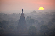 Bagan, Myanmar, also known as Burma. The Bagan (also spelled Pagan) Plain on the banks of Irrawaddy River in central Myanmar, is the largest area of Buddhist temples, pagodas, stupas and ruins in the world. More than 2,200 remain today, many dating from the 11th and 12 centuries.