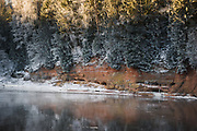 Narrow sandstone cliff near Ķūķu iezis along river Gauja in clod winter morning, Gauja National park (Gaujas nacionālais parks), Latvia Ⓒ Davis Ulands | davisulands.com