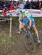 Friday 1 November 2013: Thijs van Amerongen is chased by Julien Taramarcaz during the Koppenbergcross 2013 elite men's race. Copyright 2013 Peter Horrell