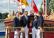 """Henley. Great Britain. left to right, Dr. Joesph MICHELS,  Sir Matthew PINSENT, Neil CHUGANI, and Jonathan SEARLE, current, 'Oxford Blue's', serving as Henley Regatta Stewards, on board the """"QRB Gloriana"""" at the  175th  Henley RoHenley. Great Britain. left to right,  Dr.Joesph MICHELS, Sir Matthew PINSENT, Neil CHUGANI,  and Jonathan SEARLE, current, 'Oxford Blue's', serving as Henley Regatta Stewards', on the foredeck of the """"QRB Gloriana"""" at the  175th  Henley Royal Regatta, Henley Reach. England. 16:34:21  Friday  04/07/2014. [Mandatory Credit; Intersport-images]yal Regatta, Henley Reach. England. 16:32:39  Friday  04/07/2014. [Mandatory Credit; Intersport-images]"""