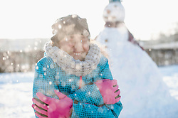 Girl shivering in winter