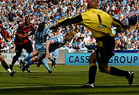 Photo: Henry Browne.<br /> Coventry City v Queens Park Rangers. Coca Cola Championship. 20/08/2005.<br /> Claus Jorgensen scores the opening goal for City.
