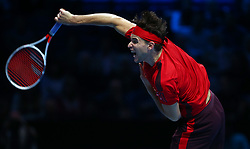 November 17, 2017 - London, United Kingdom - Dominic Thiem of Austria against David Goffin of Belgium.during Day six of the Nitto ATP World Tour  Finals played at The O2 Arena. (Credit Image: © Kieran Galvin/NurPhoto via ZUMA Press)