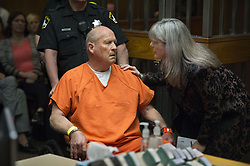 April 27, 2018 - Sacramento, California, U.S. - JOSEPH JAMES DEANGELO, the suspected East Area Rapist talks to public defender Diane Howard during his appearance in Superior Court on Friday. DeAngelo was arraigned in a Sacramento courtroom and charged with murdering Katie and Brian Maggiore in Rancho Cordova in 1978. (Credit Image: © Hector Amezcua/Sacramento Bee via ZUMA Wire)