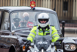 © Licensed to London News Pictures. 11/05/2021. London, UK. The Imperial State Crown is taken to the Palace of Westminster in Central London for the State Opening of Parliament. Photo credit: Marcin Nowak/LNP