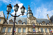 Hotel de Ville town hall and lamp post in Place de l'Hotel de Ville in Reims, Champagne-Ardenne, France