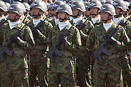 October, 23, 2016, Asaka, Saitama Prefecture, Japan: This is the Airborne Unit of the Japan Self Defense Force (JSDF) during an annual military review held at the Asaka Training Area, a JSDF base on the outskirts of Tokyo. This airborne unit is an elite fighting force, the equivalent of Army rangers. For this event, Prime Minister Shinzo Abe, top ranking Japanese military brass and international dignitaries were in attendance to view Japan's military might. This included 4000 troops, 27 divisions, 280 vehicles and artillery, plus 50 aircraft of the Ground, Air, and Maritime branches of the JSDF. (Torin Boyd/Polaris).
