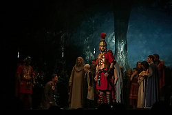 May 3, 2019 - Orlando, Florida, U.S - Actors perform ''The Empire and the Kingdom'' (part one) in the Church of All Nations in The Holy Land Experience (HLE) in Orlando, Florida. The theme park, owned by the Trinity Broadcasting Network, recreates the architecture and themes of the ancient city of Jerusalem in 1st-century Judea. HLE is a non-denominational Christian living biblical museum and church. The park opened in February 2001. There are multiple live performances given throughout various locations each the day. (Credit Image: © Tracy Barbutes/ZUMA Wire)