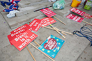 Anti-Brexit placards on the floor outside the Houses of Parliament the day after Theresa Mays crushing defeat over her Brexit deal on the 16th January 2019 in London in the United Kingdom.