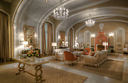 This is the set for the television series Scream Queens. Swarovski Chandeliers and sconces are used throughout the sets. ©Kathy Anderson