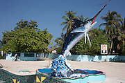 A swordfish and portrait of President Gayoom, President of the Republic of Maldives stand under a tropical sun on Meedu Island.