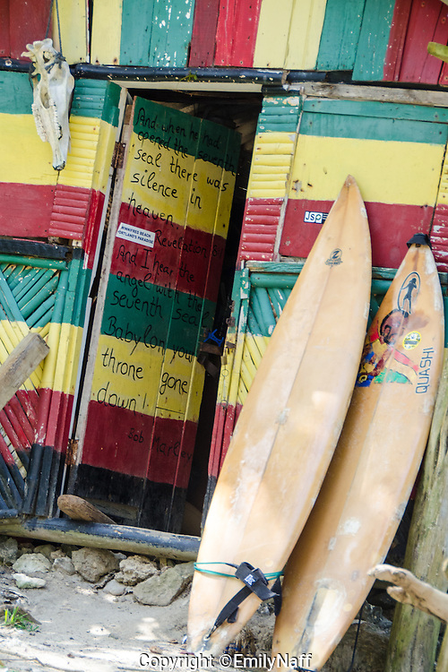 Surf shack on Winnifred Beach in Portland Jamaica.